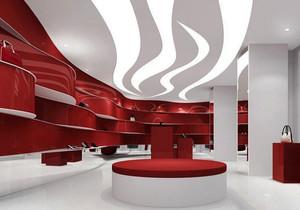 90平米现代简约风格鞋店吊顶设计装修效果图