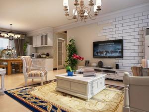 80平米欧式田园风格精致室内装修效果图案例