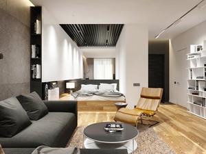 59平米现代风格黑色系精装单身公寓装修效果图赏析