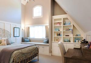 简欧风格别墅室内精美卧室飘窗设计装修效果图