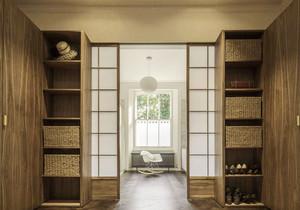 日式风格简约玄关鞋柜设计装修效果图
