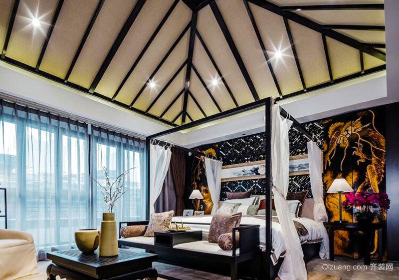新中式风格别墅室内卧室吊顶设计装修效果图