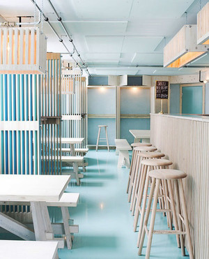 清新风格文艺餐厅吧台设计装修效果图