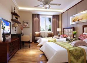 50平米中式风格酒店标准间装修效果图赏析