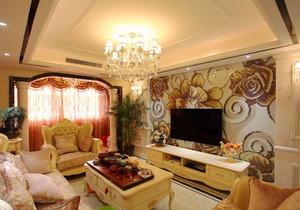 欧式风格温馨大气客厅电视背景墙装修效果图赏析