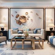 中式风格雅致精美客厅背景墙装修效果图赏析