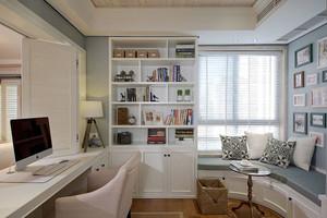 简约美式风格精致书房飘窗设计装修效果图赏析