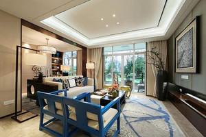 124平米中式风格精致典雅三室两厅室内装修效果图案例