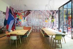 50平米现代简约风格餐厅背景墙装修效果图
