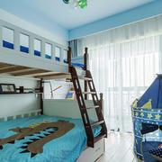 清新风格浅蓝色双层床儿童房装修效果图赏析