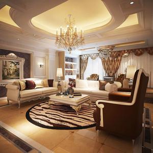 欧式风格大户型精致客厅吊顶设计装修效果图赏析