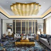 新中式风格大户型奢华客厅吊灯设计装修效果图