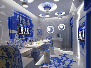 中式风格青花瓷主题KTV包房设计装修效果图