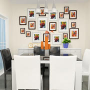 现代简约风格创意餐厅照片墙装修效果图