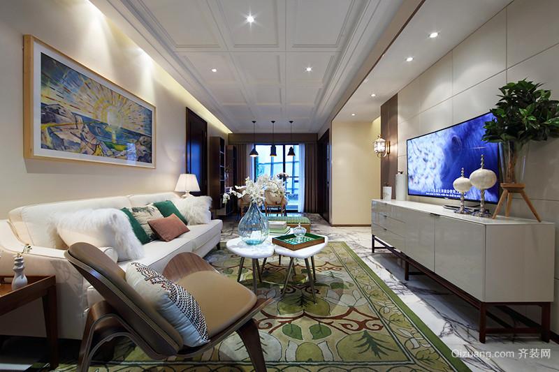 中西混搭风格时尚三室两厅室内装修效果图赏析