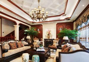 经典美式风格别墅室内精致客厅装修效果图赏析