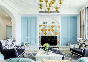 清新欧式风格精美客厅电视背景墙装修效果图赏析