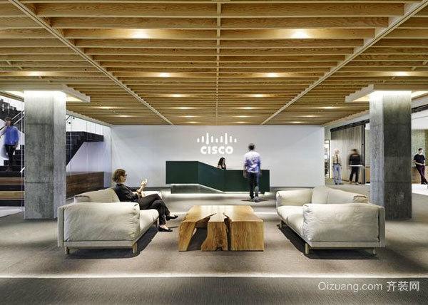 简约风格大型公司办公室前台设计装修效果图