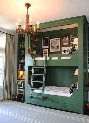 美式风格时尚创意双层床儿童房装修效果图