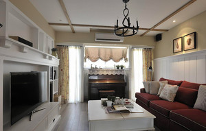 121平米美式田园风格精致三室两厅室内装修效果图