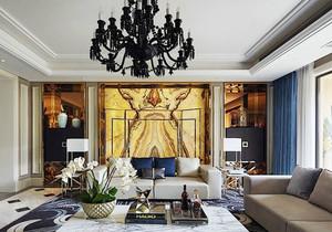 新古典主义风格别墅客厅背景墙装修效果图