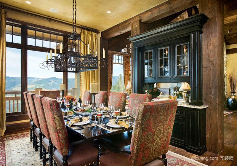 美式风格大户型精致餐厅酒柜设计装修效果图赏析
