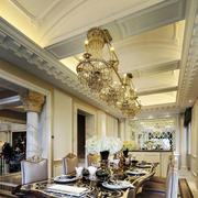 欧式风格华丽别墅餐厅吊顶设计装修效果图欣赏