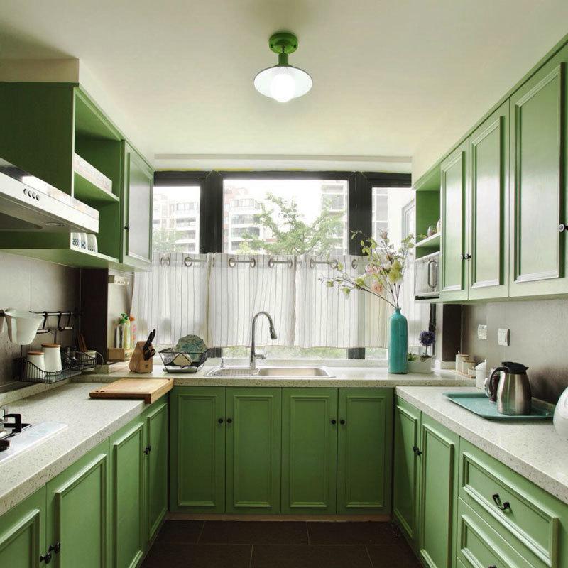 田园风格清新绿色整体厨房装修效果图赏析