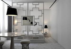 现代简约风格白色卧室隔断装修效果图赏析