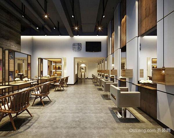 90平米中式风格美发店设计装修效果图赏析