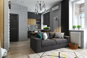 56平米现代简约风格单身公寓装修效果图案例