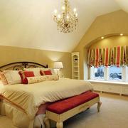 欧式风格别墅室内精致卧室飘窗设计装修效果图