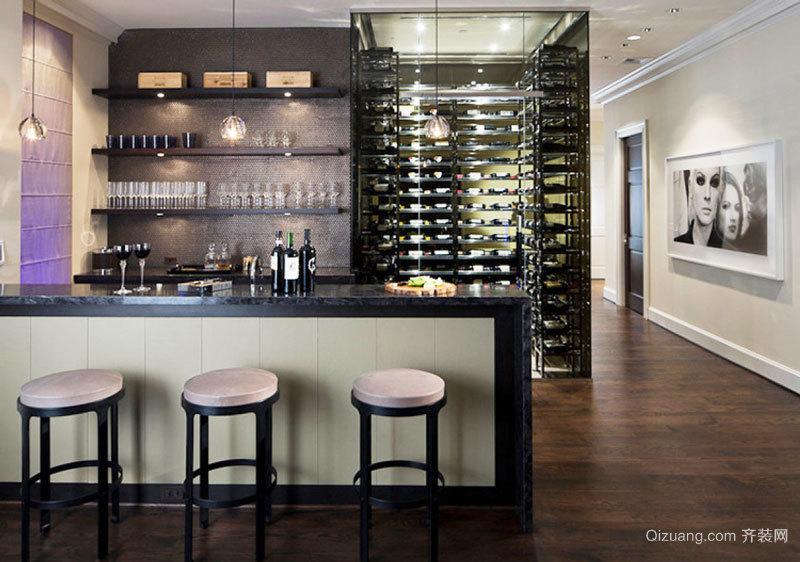 现代风格别墅是呃逆精致酒柜吧台设计装修效果图
