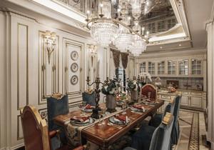 新古典主义风格别墅精致餐厅吊顶设计装修效果图