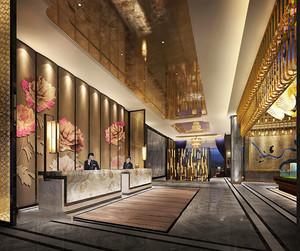 中式风格古典精致酒店大堂设计装修效果图