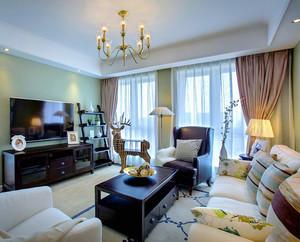 134平米简约美式风格三室两厅室内装修效果图案例