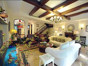 162平米美式风格古朴复式楼室内设计装修效果图