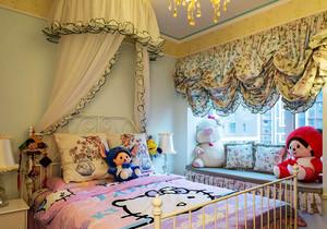 欧式田园风格温馨浅色儿童房飘窗设计装修效果图