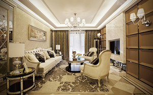 新古典主义风格精致典雅复式楼室内装修效果图