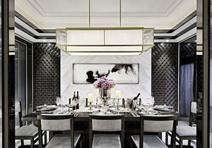 新中式风格大户型精致餐厅吊顶装修效果图