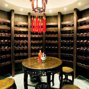 中式风格大户型精致酒柜设计装修效果图