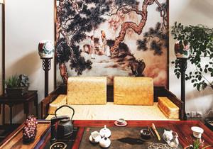 中式风格古朴精致客厅背景墙装修效果图赏析