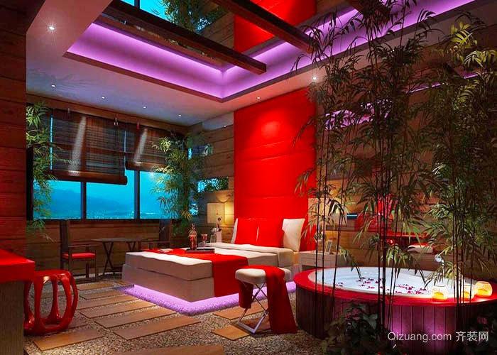 中式風格古韻酒店情侶客房設計裝修效果圖