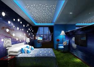 现代风格星空主题酒店客房设计装修效果图