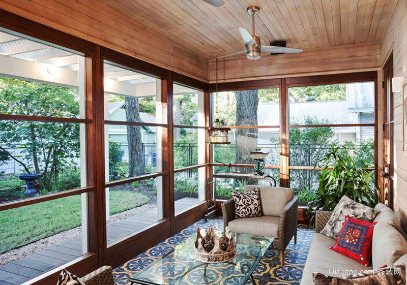 东南亚风格别墅室内封闭式阳台装修效果图