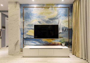 后现代风格创意客厅电视背景墙装修效果图