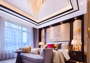 中式风格精致素雅主卧室背景墙装修效果图