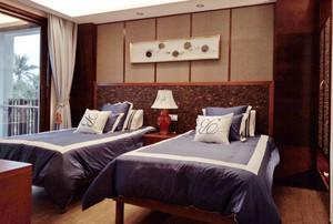新中式风格宾馆标准间装修效果图