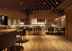 现代风格简约创意咖啡厅吊顶装修效果图