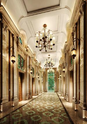 欧式风格五星级酒店过道设计装修效果图